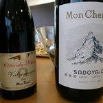 chez l'ami noix - ハウスワイン。 左は南仏のアラン・パレさんのもの。右は山梨の老舗サドヤのモン・シェル・ヴァン
