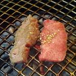 焼肉の龍園 - 黒毛和牛上カルビは、余分な脂をとばしますw