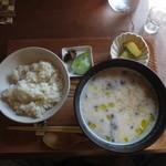 cafe コメマメイモ - 一汁一穀定食セット(ドリンク付き) 1000円(2015.8)