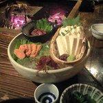 Iroriryouritonihonshusurofudohakobune - 堅豆腐、ふぐの卵巣の粕漬け、ほたるいかの沖漬け
