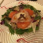41560446 - 一の前菜 サーモン、ハマチ、明石蛸、フレンチキャビアのマリネサラダ アニスの香るビーツソース