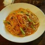 41561510 - ツナと小松菜のトマトクリームパスタ