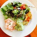 41564004 - 野菜サラダ・キッシュ・バジルのマッシュポテト・サーモンマリネ