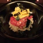 にくの匠 三芳 - 瀬戸内の赤雲丹と牛トロの手鞠寿司!