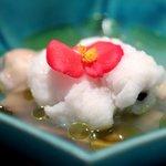 レストラン ラッセ - 淡路一本釣りハモの湯引き小ハマグリの軽いスープ
