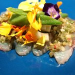 レストラン ラッセ - 尾長鯛のカルパッチョ、華やかに