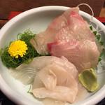 和食 魚佐次 - 縞鯵とヒラメの二点盛り