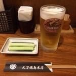 丸万焼鳥 - 生ビール&きゅうり