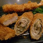 新宿さぼてん - 「にぎわい」定食(黒胡椒チーズ巻きかつ・エビフライ・ひとくちヒレかつ)