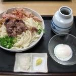 うどんの花里 - 肉ぶっかけうどん・大(半熟玉子:850円)