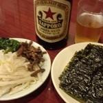 41595214 - 中瓶ビール+ナムル+韓国海苔(サービス)