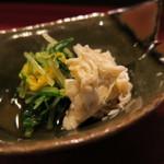 たまゆら - 27年9月 岩手ワタリガニと水菜・菊花のお浸し