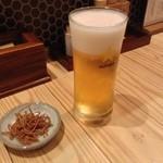 鴨そば塚田農場 - 生ビール380円