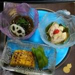 宝来寿司 - 前菜3種(H27.8.15撮影)