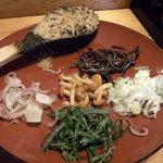 41617831 - ぶっかけの具。焼き味噌、ゴマ、ミョウガ、シソ、ネギ、ナメコ、キクラベ