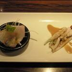 HAKATA ONO - 博多美人コース。中華風カルパッチョ、棒棒鶏