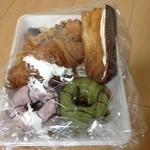 ラ・プリムール - 料理写真:クロワッサンドーナツイチゴと抹茶、クリームクロワッサン、Wクリームデニッシュ、餡クロワッサン、芋パイ、アップルパイ