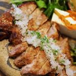 ピパーチキッチン - 県産豚肩ロースのソテー、薬草おろしと自家製シークヮーサーポン酢