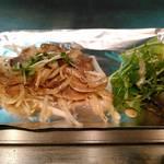 鉄板焼き Sada - 紅葉豚の厚切りバラ肉焼き