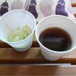 茶 一条 - 2015/8/☆  店内ご購入の方、サービスのコーヒー、お茶もあるよ!