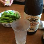 手打ちそば いなくら - 瓶ビールと枝豆