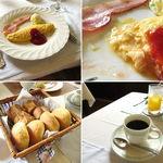ものがたり - レストランものがたりブランチ500円パン写真は4人分です。2015.8.30撮影