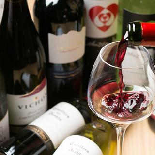 ★厳選したワイングラスで♪赤・白・スパークリングワイン有り◎