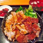 和牛焼肉丼のいち - カルビとハラミのコンビ丼は両方食べたい欲張りさん向け(^-^)