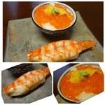 しん進 - ◆「車海老の寿司」「イクラミニ丼」・・これはどちらもいいお味です。 主人は「イクラ」の漬け具合がいいと申しておりました。