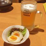 天天厨房 - お通し(煮卵)/生ビール