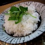 麺屋 波 - カレーつけ麺(中盛)¥930円のカレー茶漬け