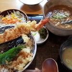 ハナマル霞庵 - カレーうどんと天丼のセット