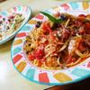 大長谷ふるさとセンター - 料理写真:揚げナスとバジルのトマトソースパスタ