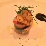 41785501 - 秋刀魚のコンフィ 茄子と竹炭のソース