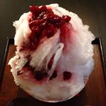 おやど松葉屋 - ラズベリーコンフィ氷、三ツ星氷室さんでフワサク◯、コンフィ◎、20cm超×大量コンフィに満腹、他に地元産果物メニュー充実、原価率高すぎな700円とお安い、フルーツ酸キツめと量に注意  '15/9/10