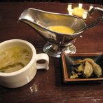 うすけぼー - スープ、ザーサイ、辛子酢