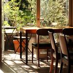 emu cafe - 店内からテラスの眺め