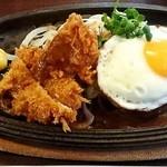 キッチンTiKi - キチンカツとハンバーグに目玉焼きのBランチ1000円