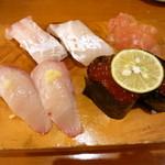 銀座鮨 - 鯛、かんぱち、いくら