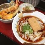 名代きしめんげんき庵 - きしめん(冷) ランチ ミニ天丼、冷奴つき 600円