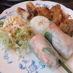 41821930 - 生春巻き、揚げ春巻き、鶏のから揚げ、サラダ、ライス