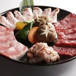 焼肉 山王苑 - 満腹セット【3980円】4種のお肉(カルビ、ロース、その日の新鮮素材2種)