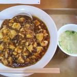 元祖赤のれん節ちゃんラーメン - マーボー丼620円を注文。 麻婆豆腐定食720円もあり、マーボーが鉄板皿盛りで、ご飯は別盛りで720円です。 麻婆丼はボリュームが少ないのかなーと思ったら、 結構ありました。