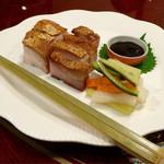 41865516 - 広東風皮付き焼豚バラ肉