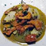 41866360 - 『エゾアワビ』のグリェ,肝のソース,冬瓜とジロール茸を盛り合わせて