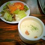 グリルママ - セットのサラダとスープ