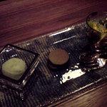 日本料理 時宜 - 大葉のソルベ 季節のフルーツ吟醸ゼリー 抹茶どらやき
