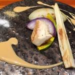 神楽坂 鉄板焼 中むら - 季節の焼き野菜チーズとお醤油のクリームソース添え!