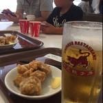 紅虎餃子房 - ワンコインビールセット 唐揚げか、餃子か、やみつき餃子から選べて、生ビールと♪ワンコインだけど消費税つくから¥540…