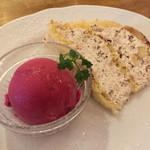 イタリア料理 ボン・パスト - Bランチのデザート ズコットとカシスシャーベット